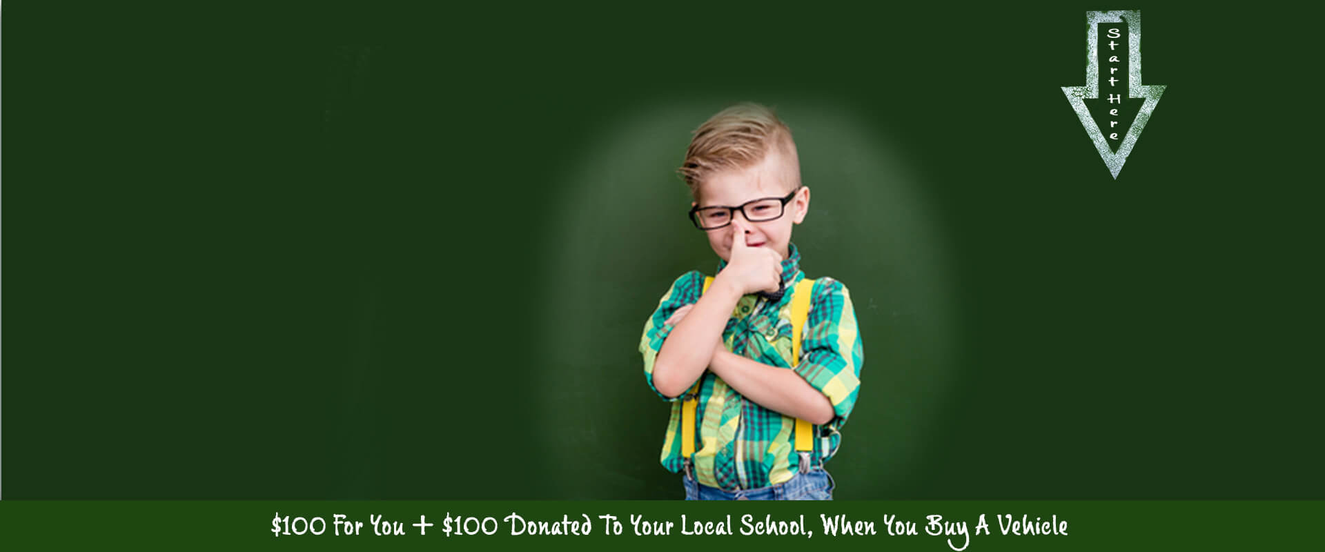 $100 donated to local school promotional banner